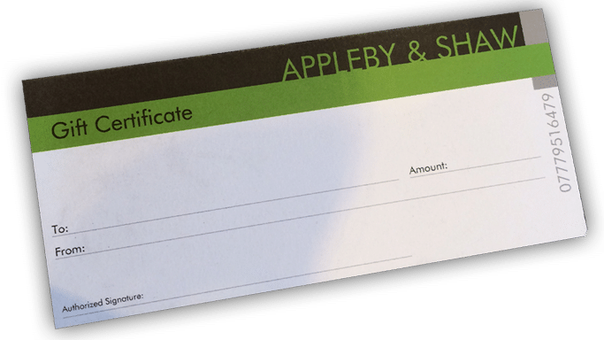 Gift certificate for Appleby and Shaw ladies clothing