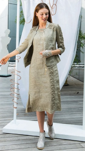 Elisa Cavaletti brown beige stripped jacket at Appleby and Shaw